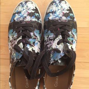Calvin Klein floral sneakers.